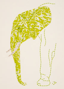 Elephant in Chartreuse and Silver