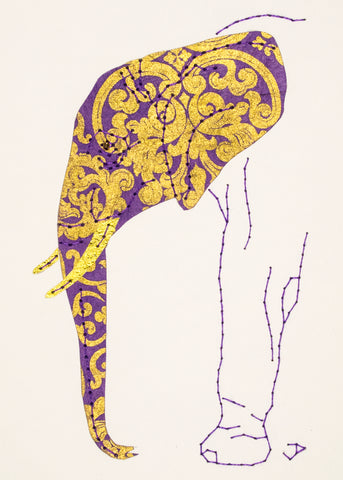 Elephant in Purple and Gold