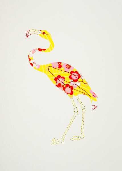 Flamingo in Red & Pink on Yellow