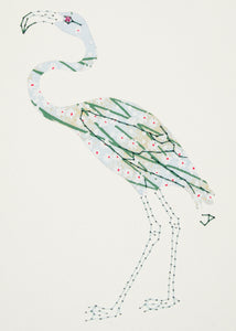 Flamingo in Blue & Green Reeds