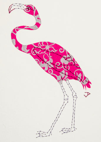 Flamingo in Silver & Magenta