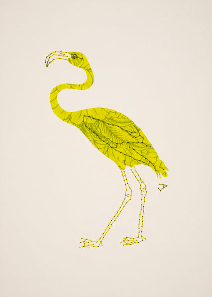 Flamingo in Lime Green