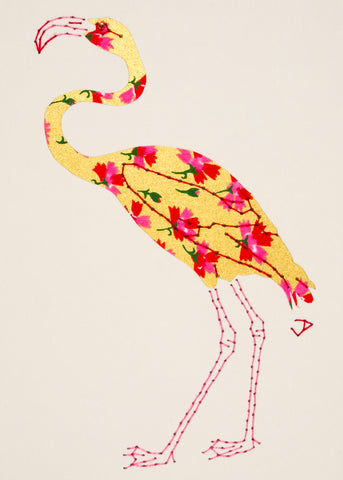 Flamingo in Red & Pink Flowers on Gold
