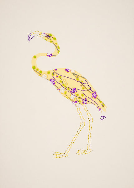 Flamingo in Purple Flowers on Pale Yellow