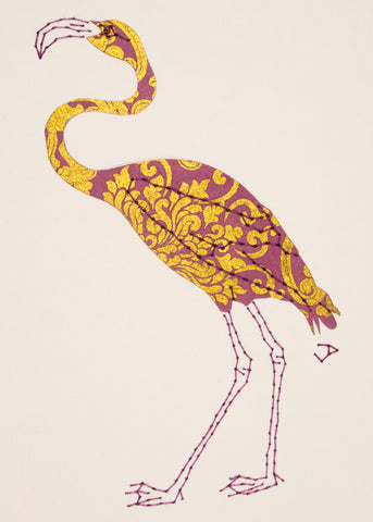 Flamingo in Mauve & Gold