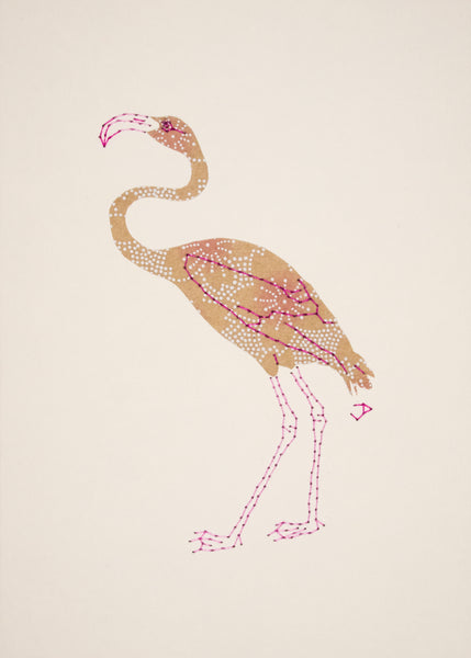 Flamingo in White & Pink on Buff