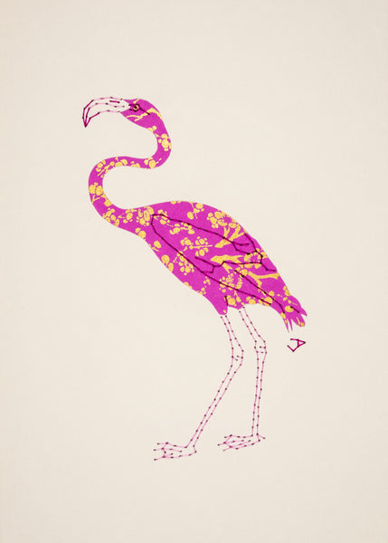 Flamingo in Gold & Mauve