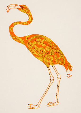 Flamingo in Gold & Orange