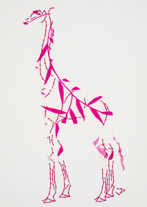 Giraffe in Pink Leaves on White