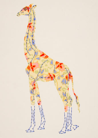 Giraffe in Pink Flowers on Pale Yellow