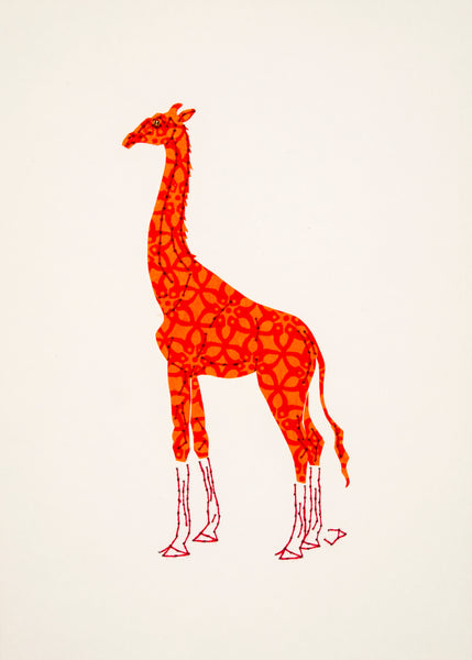 Giraffe in Orange and Red
