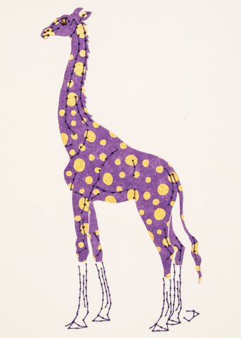 Giraffe in Purple with Gold Dots