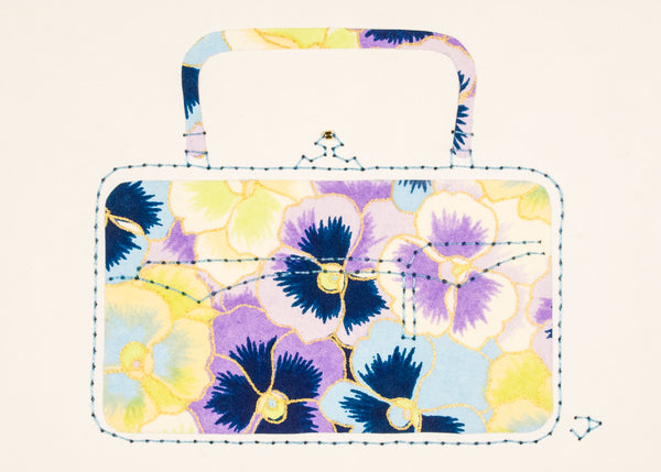 Victorian Handbag in Blue, Purple & Yellow Pansies