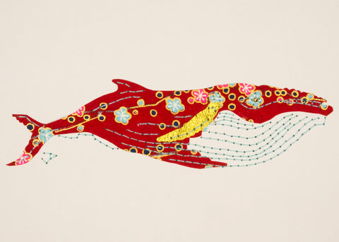 Humpback Whale in Red, Turquoise & Gold