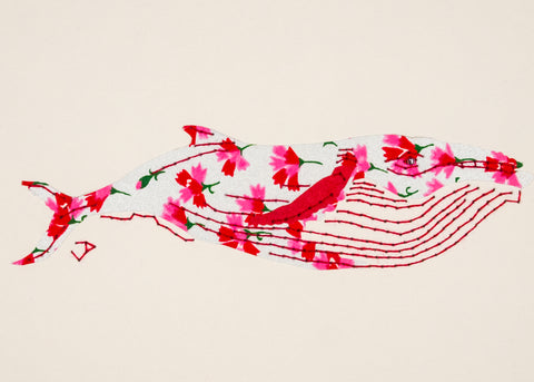 Humpback Whale in Pink & Red Flowers on Silver