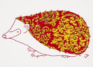 Hedgehog in Gold and Dark Red