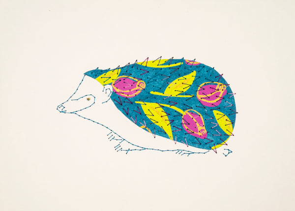 Hedgehog in Pink Flowers on Blue