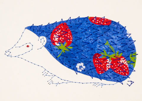 Hedgehog in Strawberries on Blue