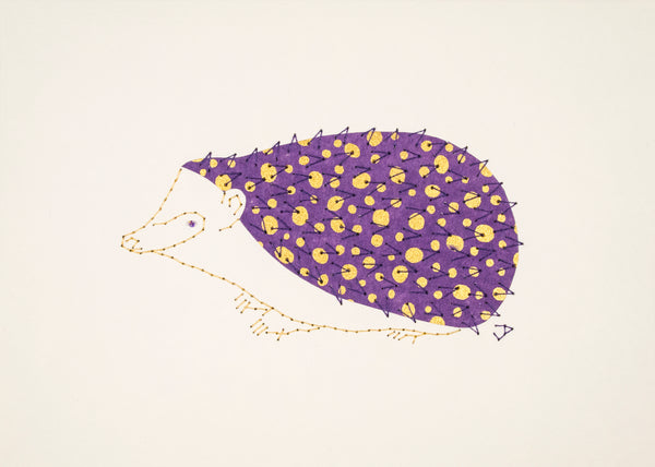 Hedgehog in Gold Dots on Purple