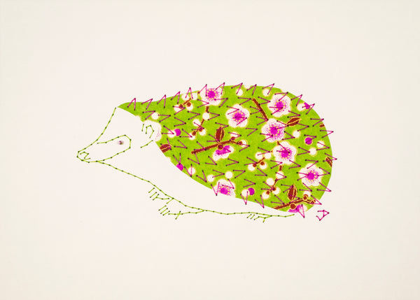 Hedgehog in Pink Flowers on Lime Green