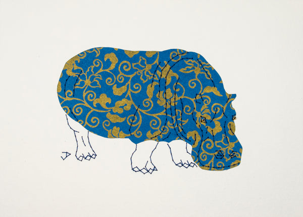 Hippopotamus in Bronze on Blue