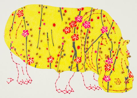 Hippopotamus in Yellow with Flowers