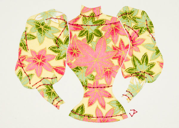 Sweater in Pink & Green Leaves