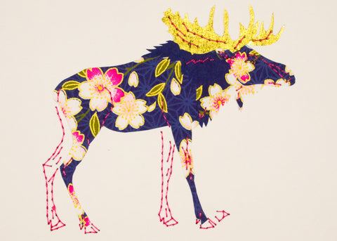 Moose in Navy Blue & Pink