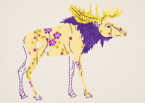 Moose in Yellow, Purple & Gold