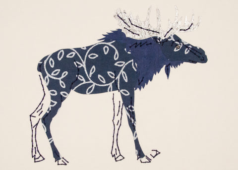 Moose in Silver & Navy Blue