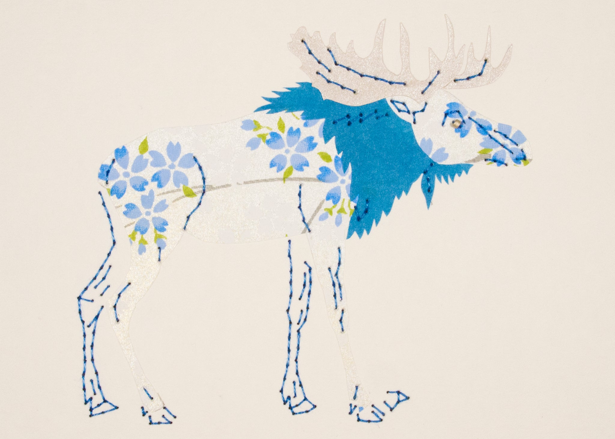 Moose in Electric Blue & Silver