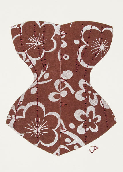 Victorian Corset in Silver & Red-Brown