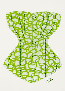 Victorian Corset in Silver and Lime Green Circles