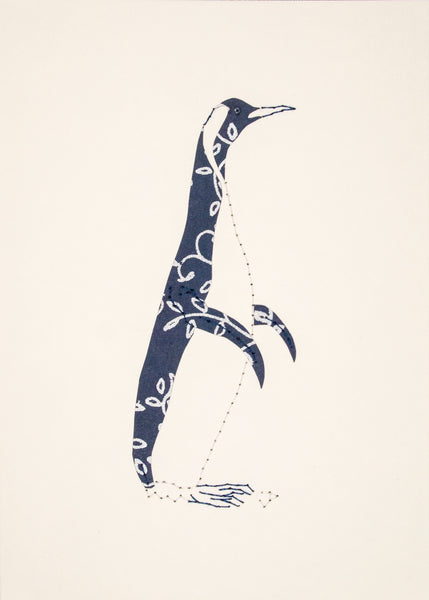 Penguin in Navy Blue & Silver