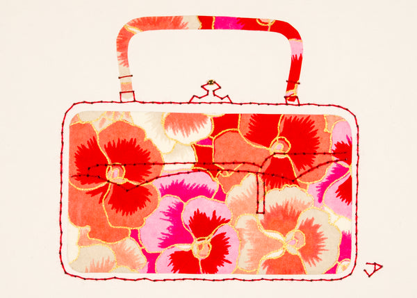Victorian Handbag in Pink & Red Pansies