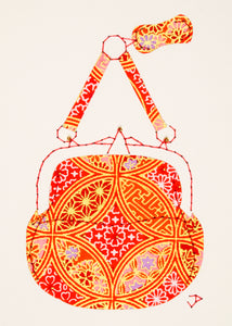 Chatelaine Handbag in Orange, Red & Gold