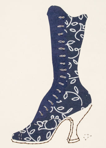 1890s Boot in Navy Blue & Silver