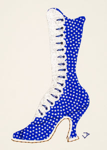 1890s Boot in Bright Blue with Silver Dots