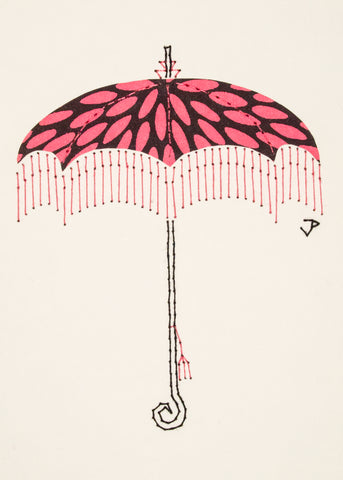 Parasol in Pale Pink & Black
