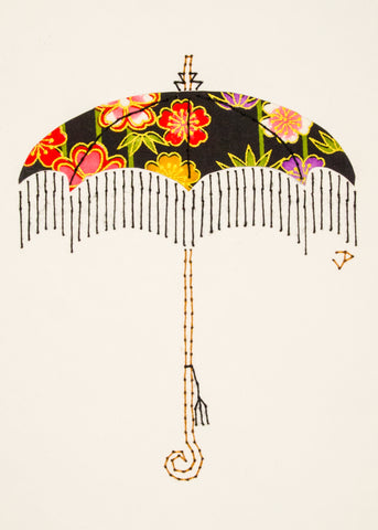 Parasol in Flowers on Black