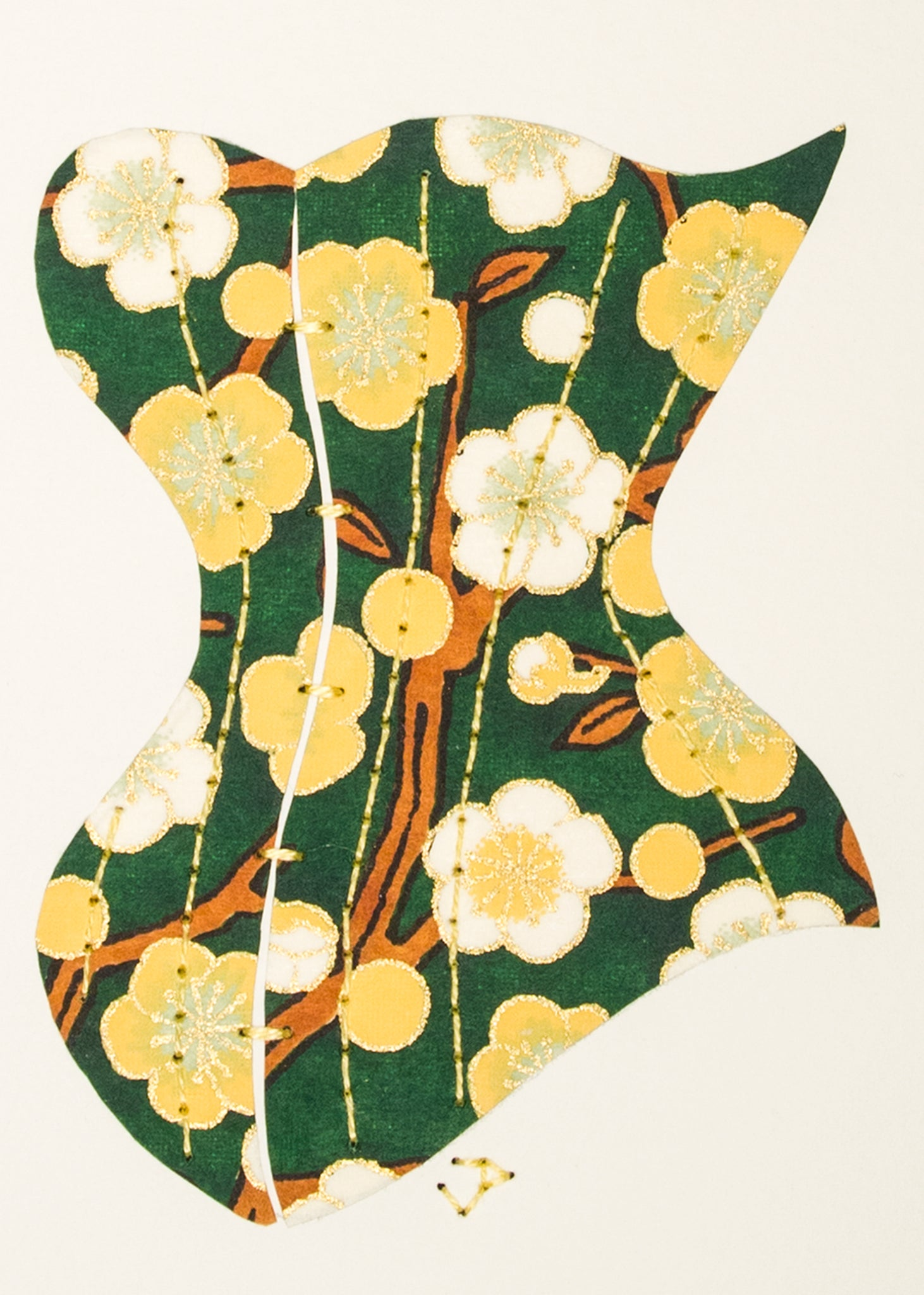 Victorian Corset in Yellow & Green Cherry Blossoms