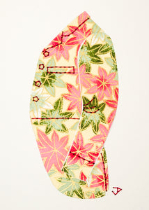 Men's Victorian Jacket in Pink & Green Leaves