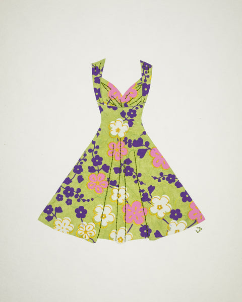 Pinup #019: Pinup dress in pink and purple flowers on green