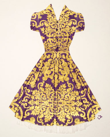 Pinup #004: Pinup dress in purple and gold with crinoline. 2016