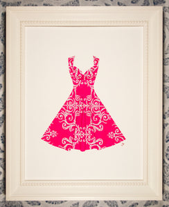 Pinup dress in silver filigree on pink