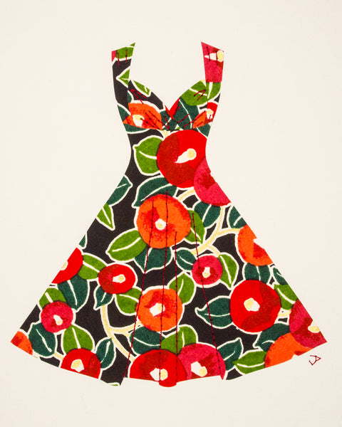 Pinup dress in red poppies