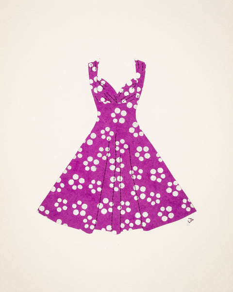 Pinup dress in silver dots on purple