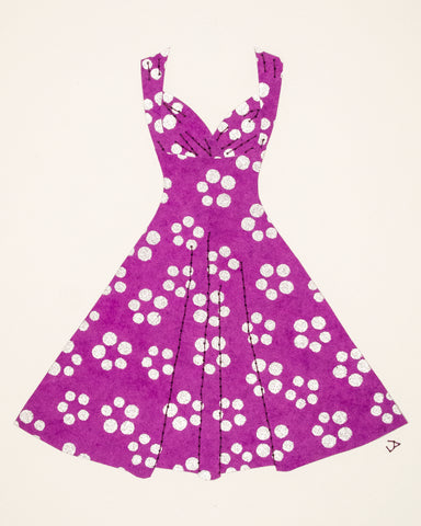 Pinup #025: Pinup dress in silver dots on purple. 2020