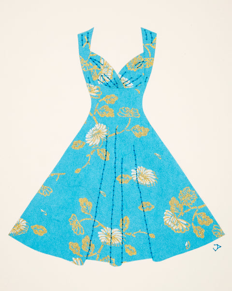 Pinup dress in turquoise with flowers