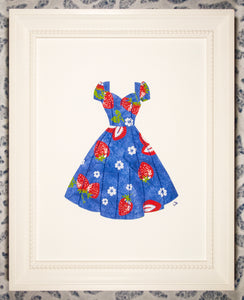Pinup #027: Pinup dress in strawberries on blue